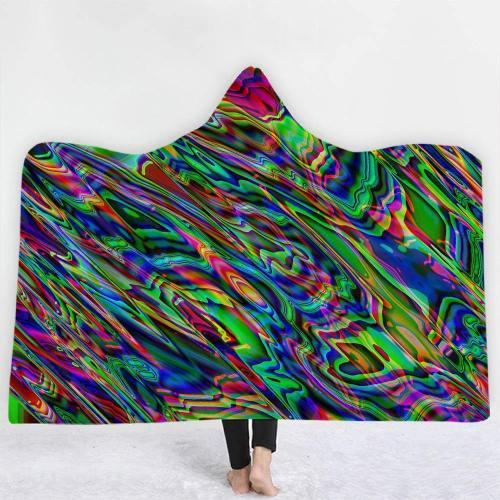 Hypnotic Flowing Colors Hooded Blanket