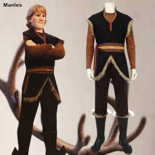 Cartoon Movie Prince Kristoff Bjorgman Costume Elsa Anna Cosplay Vest Pants Belt Props Halloween Carnival Adult Men Outfit Suit