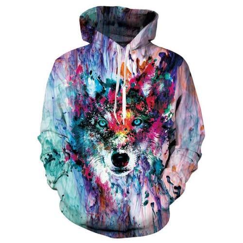 Mens Hoodies 3D Printed Painting Wolf Hoodies Sweatshirt