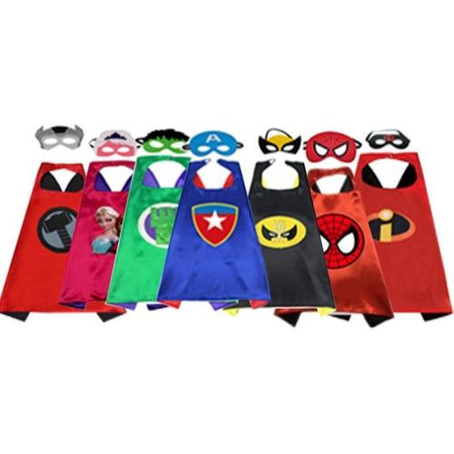 Superhero Cape Cloak Cosplay Costume For Children Halloween Party Costumes For Kids 1Cape+1Mask