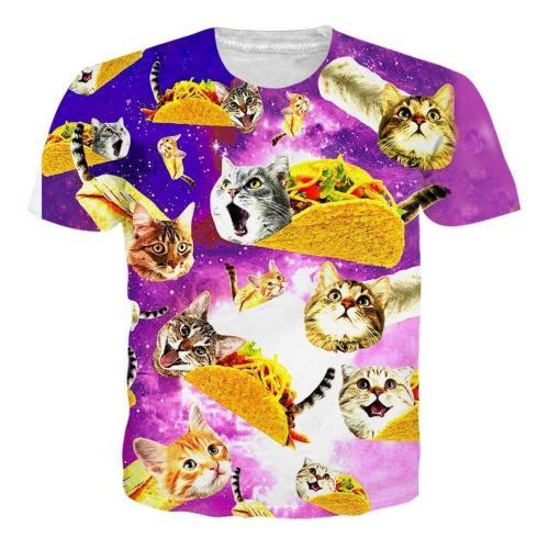Mens 3D Printing T Shirts Pizza Pie Cat Pattern Tees