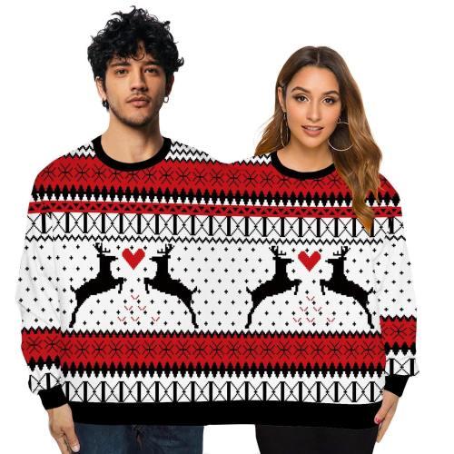Couple Wear Lovers Men Women Connected Hoodies Christmas Deer Pattern Sweatshirt