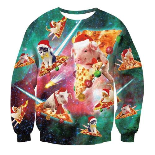 Mens Pullover Sweatshirt 3D Printing Cat Pizza Pattern