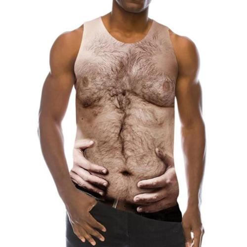 Mens Tank Tops 3D Printing Chest Body Printed Vest