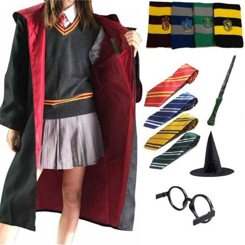 Potter Cosplay Costumes Robe Cape Suit Tie Scarf Wand Glasses Ravenclaw Gryffindor Potter Hufflepuff Slytherin Cosplay Wholesale