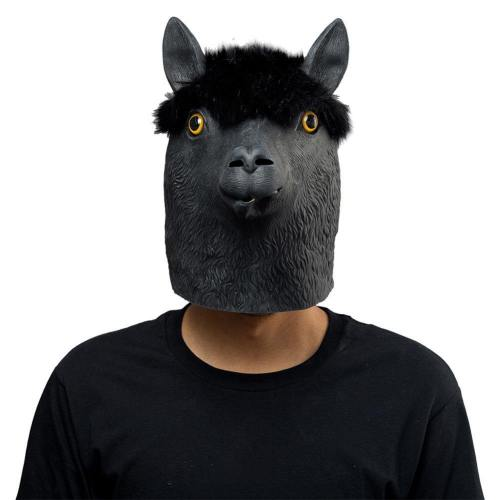 Black Alpaca Helmet Halloween Animal Latex Helmet Full Face Adult Cosplay Props
