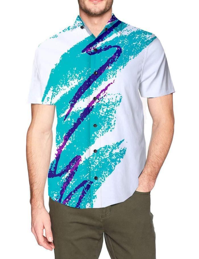 Men'S Hawaiian Shirt 90'S Jazz Solo Paper Cup Pattern