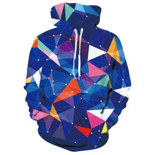 Mens Hoodies 3D Printing Hooded Geometric Printed Pattern Sweatshirt