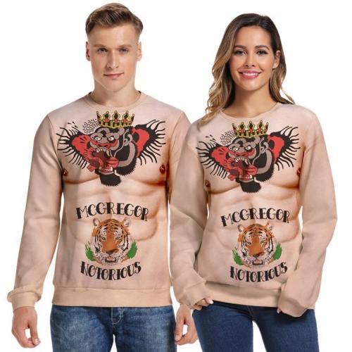 Mens Pullover Sweatshirt 3D Printed Christmas Muscle Long Sleeve Shirts