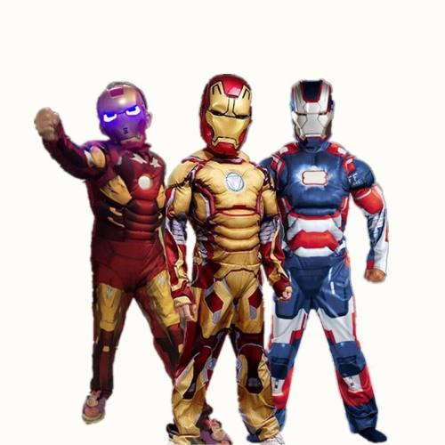 Iron Man Costume For Kids Mask Cosplay Ironman Halloween Costumes Girls Boys Children Carnival Superhero Avengers Child Muscle