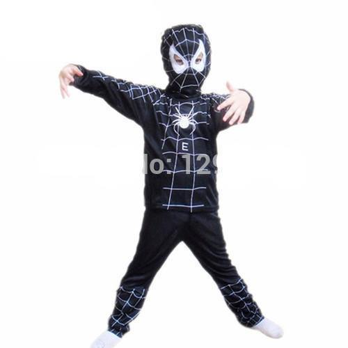 Black Spiderman Superhero Costumes For Kids