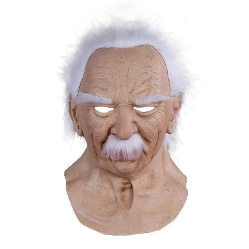 Old Man White Beard With Hair Latex Helmet Halloween Cosplay Props