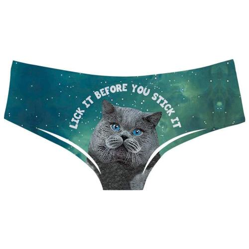 Womens Funny Cat Pattern Underwears Panty Beathable Moisture Wicking Lingerie Briefs