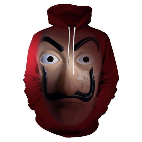 Unisex La Casa De Papel Hoodies Dali Printed Pullover Jacket Sweatshirt
