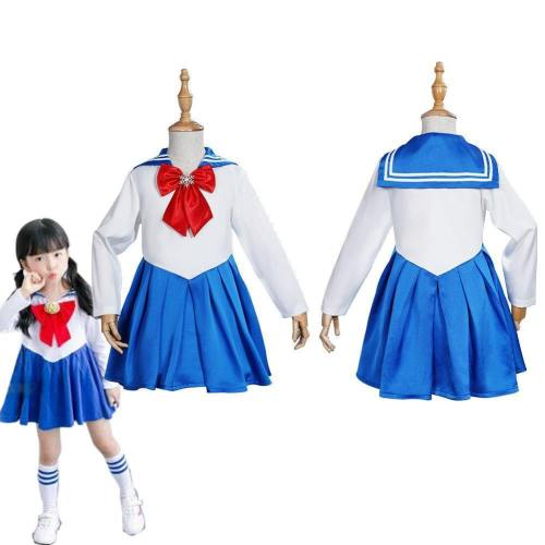 Sailor Moon Kids Girls Blue Dress Outfits Halloween Carnival Suit Cosplay Costume