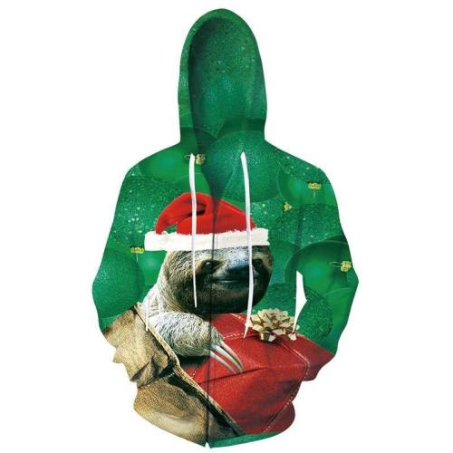 Mens Zip Up Hoodies Christmas Cute Bear 3D Graphic Printing Hoody