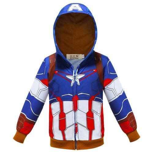 Kids Hoodies Superhero Captain America Sweatshirt For Boys