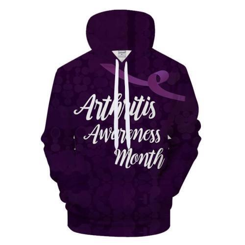 Purple Arthritis Awareness Month 3D - Sweatshirt, Hoodie, Pullover