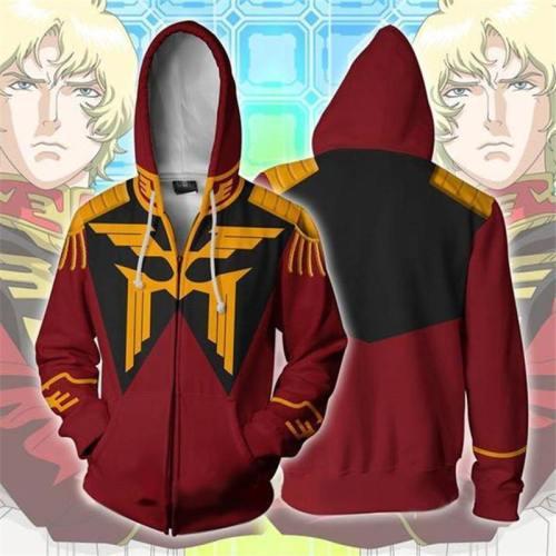 Mobile Suit Gundam Costumes Gundam Sweatshirts Cosplay 3D Printed Zip Sweatshirt Men'S Fashion Cartoon Hooded Sweater Jackets