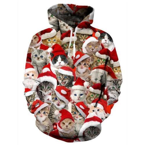 Mens Hoodies 3D Printing Christmas Cat Printed Winter Hoodies Tracksuits