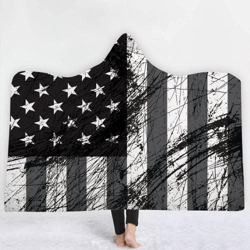 Exclusive: Vintage Patriotic Usa Flag Version 2 Hooded Blanket