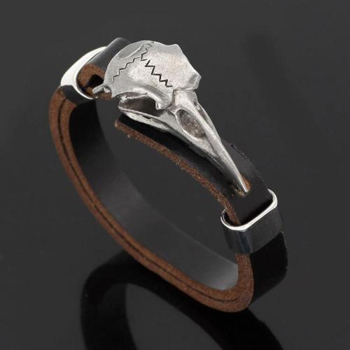 Viking Raven Skull Leather Bracelet