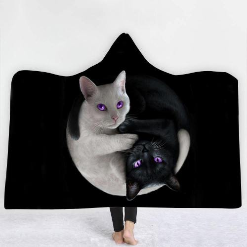 Exclusive:  Yin Yang Cats Hooded Blanket
