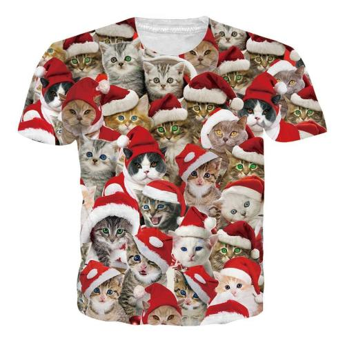 Men'S Short Sleeve Ugly Christmas T-Shirts Funny Cat