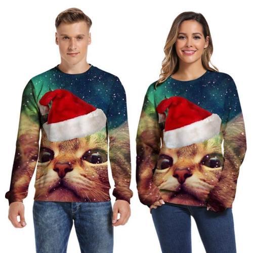 Mens Pullover Sweatshirt 3D Printed Merry Christmas Cat Face Long Sleeve Shirts
