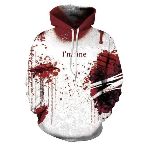 Halloween 3D Hoodie I'M Fine Printed Pullover Sweatshirt