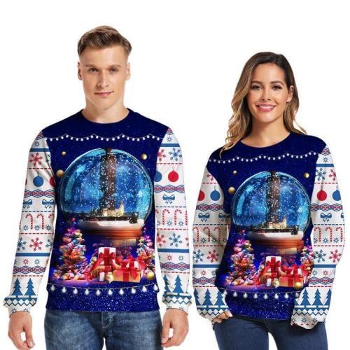 Mens Pullover Sweatshirt 3D Printed Christmas Dream Long Sleeve Shirts