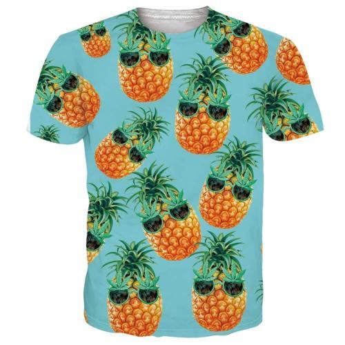 Mens T Shirt Hawaiian Glasses Pineapple Printing Pattern Tee