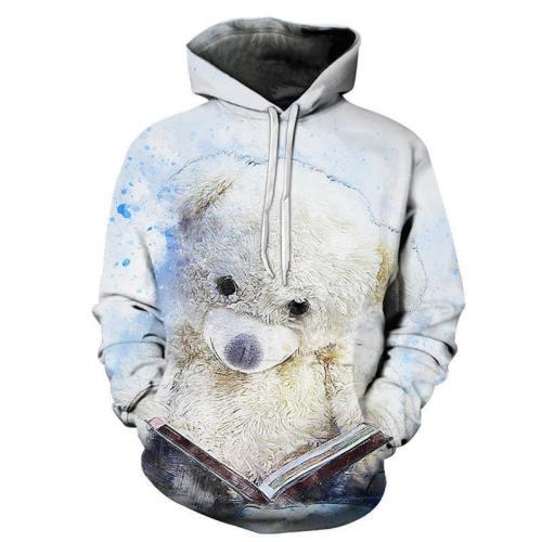 Teddy Bear Reading 3D - Sweatshirt, Hoodie, Pullover