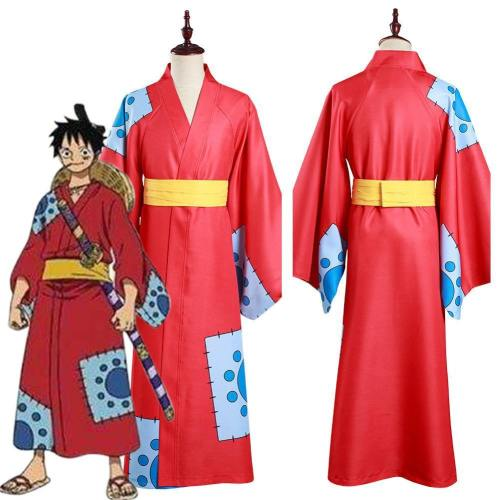 One Piece Wano Country Monkey D. Luffy Kimono Outfits Halloween Carnival Suit Cosplay Costume