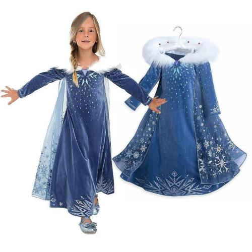 Girls Snow Queen Princess Elsa Kids Cosplay Dresses Halloween Costumes