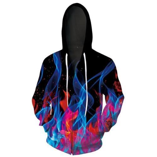 Mens Black Zip Up Hoodies 3D Printed Blue Red Smoke Printing Hooded
