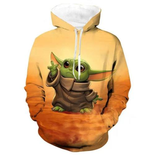 Star Wars The Mandalorian Baby Yoda #2 Pullover Hoodie Jacket Coat Sweatshirts Man Women Cosplay Star Wars Costume Prop