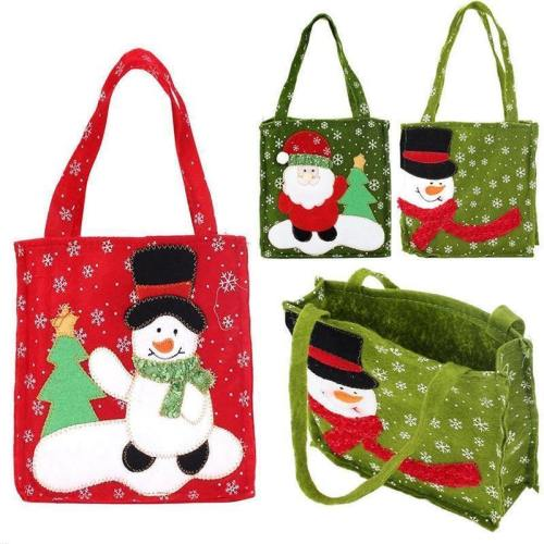 New Year Xmas Gifts Santa Claus Snowman Candy Bags Hangable Pouch Handbag Merry Christmas Storage Package Container Organizer