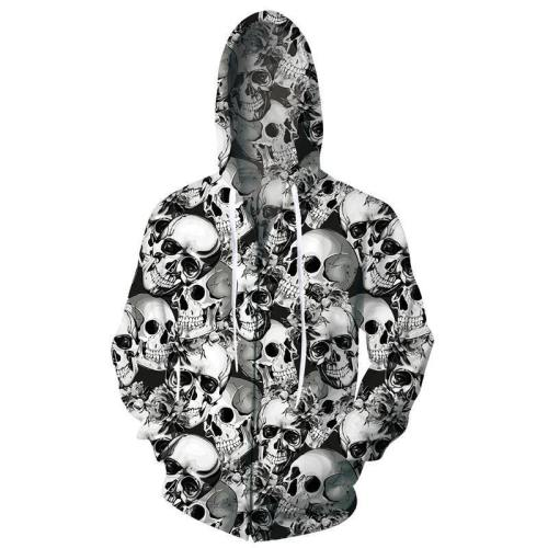 Mens Zip Up Hoodies Halloween Skull 3D Graphic Printing Hoody