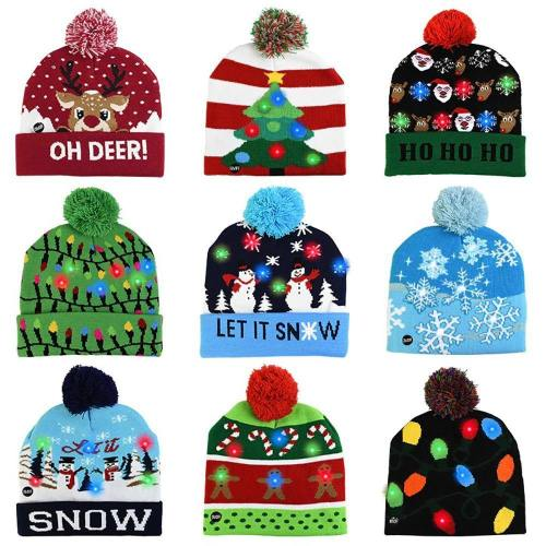Christmas Beanie Hat With Colorful Led Lights