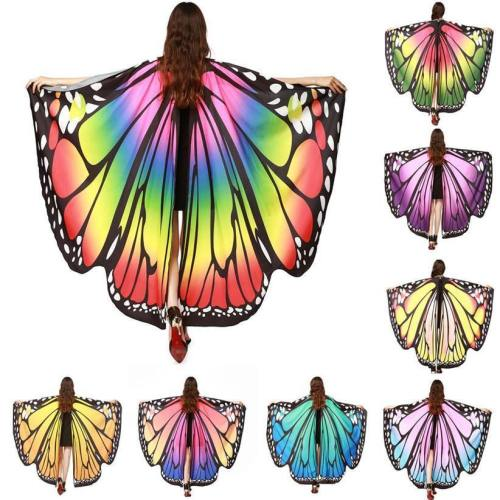 Chamsgend Women Butterfly Wings Pashmina Shawl Scarf Nymph Pixie Poncho Costume