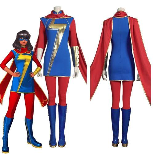 Marvel'S Avengers-Ms. Marvel (Kamala Khan) Women Uniform Outfits Halloween Carnival Suit Cosplay Costume