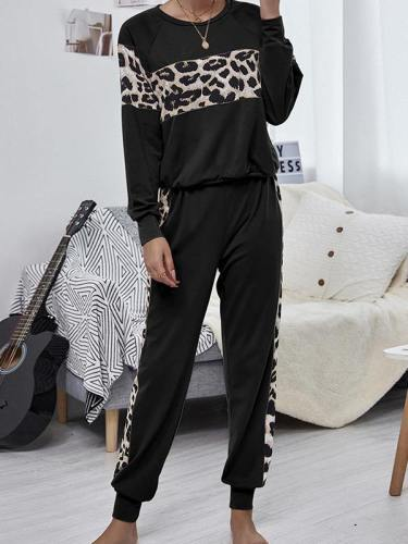 Women'S 2 Piece Outfits Leopard Sweatshirt And Jogger Pants