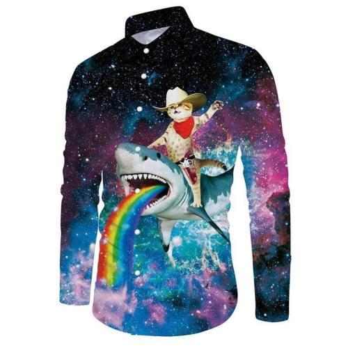 Mens Shirts Galaxy Cat On Rainbow Shark Printed Blouse