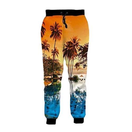 Mens Jogger Pants 3D Printing Hawaiian Pattern Sweatpants