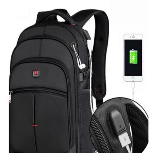 Backpack External USB Charging Interface Adapter Charging Cable (Color: Black)