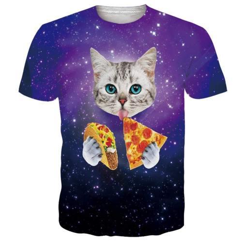 Mens T Shirts Galaxy Pizza Cat Printing Tee