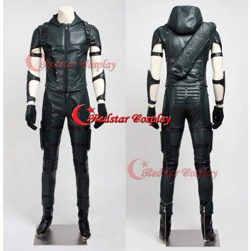 Green Arrow Season 4 Oliver Queen Cosplay Costume Suit Outfit Uniform