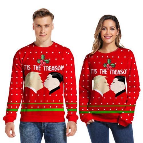 Mens Pullover Sweatshirt 3D Printed Christmas Red Long Sleeve Shirts
