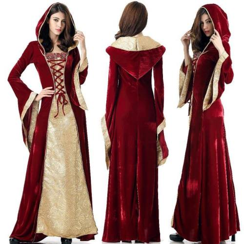 Medieval Dress Robe Women Renaissance Dress Princess Queen Costume Velvet Court Maid Halloween Costume Vintage Hooded Gown